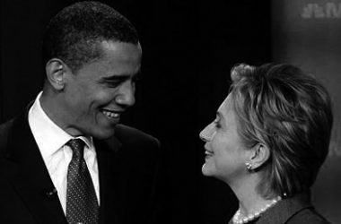 ORANGEBURG, SC - APRIL 26:  Democratic presidential candidates U.S. Sen. Barack Obama (D-IL) (L) and U.S. Sen. Hillary Clinton (D-NY) (R) talk prior to the first debate of the 2008 presidential campaign April 26, 2007 at South Carolina State University in Orangeburg, South Carolina. The debate, featuring eight Democratic presidential candidates, comes 263 days before the first ballot will be cast in the Iowa caucus next January.  (Photo by Win McNamee/Getty Images)